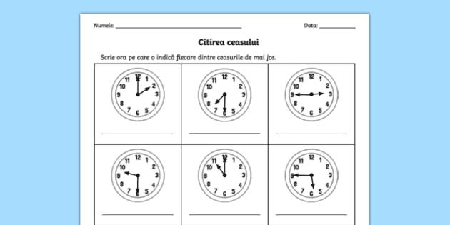 Cât este ceasul, Fișă matematică, worksheet