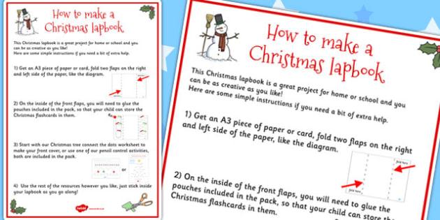 Christmas Lapbook Instructions Sheet - lapbooks, instructions