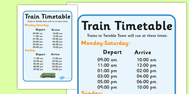 Train Station Timetables - Train Station display, banner, poster, post office, role play, train, station, tickets, platform, trains, waiting room, timetable, luggage, whistle