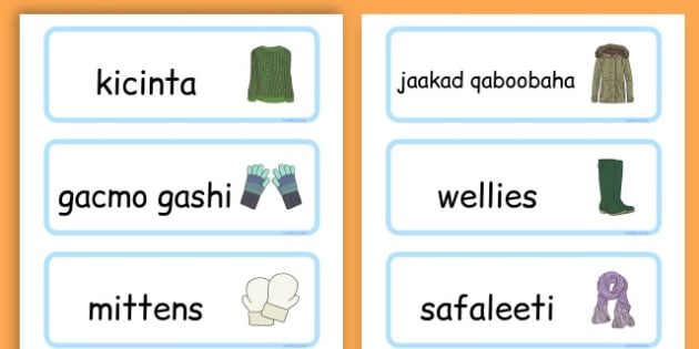 Winter Clothes Word Cards - winter clothes, word cards, winter, clothes - Somali