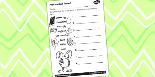 Easter Alphabet Ordering Worksheet - easter, alphabet, a-z, RE