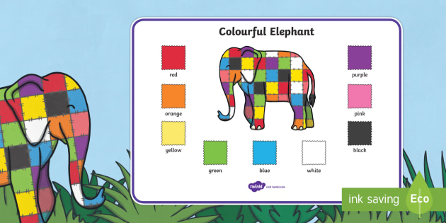Colour Word Mat to Support Teaching on Elmer - australia, elmer, colour, word mat, mat