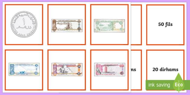 UAE Maths Resources Matching Cards - UAE Maths Resources, money, cash, match, pelmanism, matching, cards