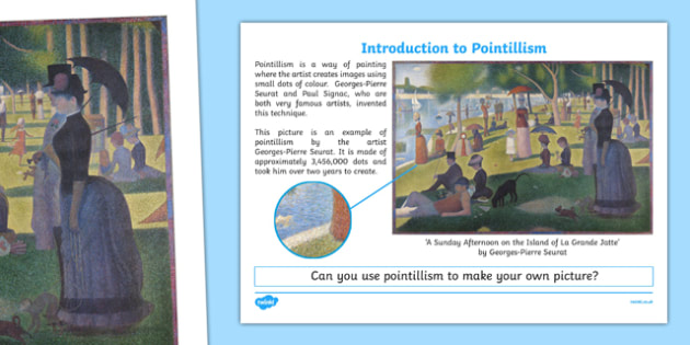 Introduction to Pointillism Activity Sheet, worksheet