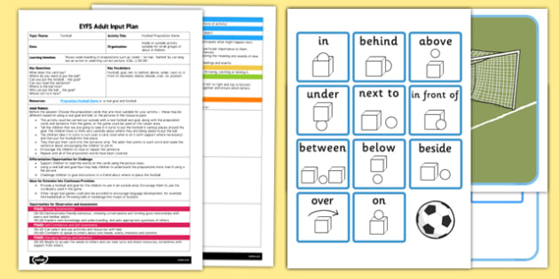 EYFS Football Preposition Game Adult Input Plan and Resource Pack - sport
