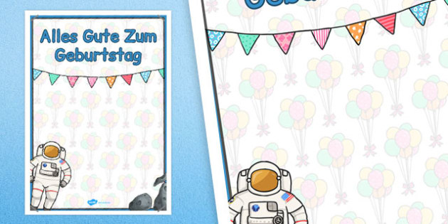 German Happy Birthday Posters Space Themed - german, posters