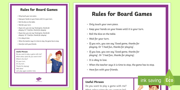 Board Games Rules and Social Scripts