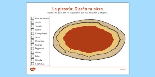 Ficha Diseña una pizza - spanish, design, diseña, pizza, ingredients, ingredientes, worksheet, ficha, cooking