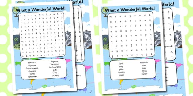 What a Wonderful World Word Search - wonderful world, wordsearch