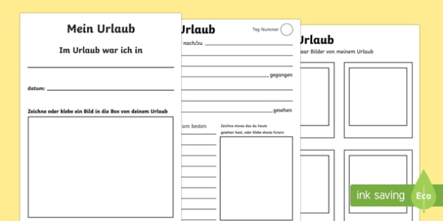 Mein Urlaub - german, my holiday booklet, my holiday, holiday, holidays, vacation, beach, sun, family, booklet, trip, excursion, fun, activity, exciting, notes, experience, drawing, what have you seen