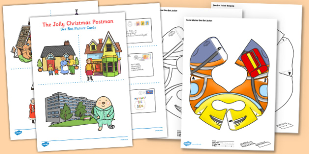 Bee Bot Picture Cards to Support Teaching on The Jolly Christmas Postman - beebot, bee-bot, bee bot, christmas