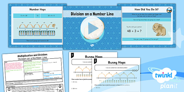 PlanIt Y3 Multiplication and Division Lesson Pack Division (1) - written division, number line division, division counting on, calculation methods, planning