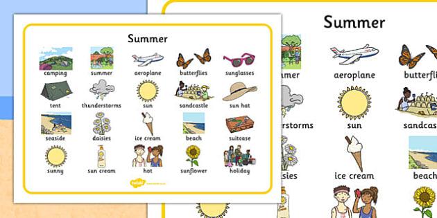 Summer Word Bank -  Summer, holidays, word mat, writing aid, holiday, holidays,  seasons, beach, sun, flowers, ice cream, sea, seaside