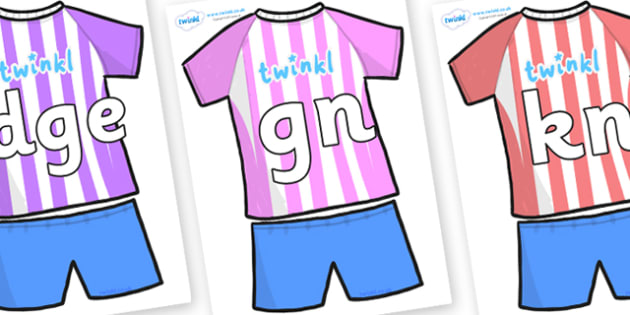 Silent Letters on Football Strip - Silent Letters, silent letter, letter blend, consonant, consonants, digraph, trigraph, A-Z letters, literacy, alphabet, letters, alternative sounds