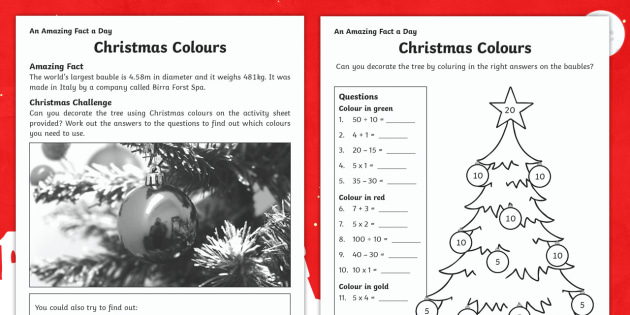 Christmas Colours Activity Sheet -  Amazing Fact Of The Day, activity sheets, PowerPoint, starter, morning activity, December, Christma