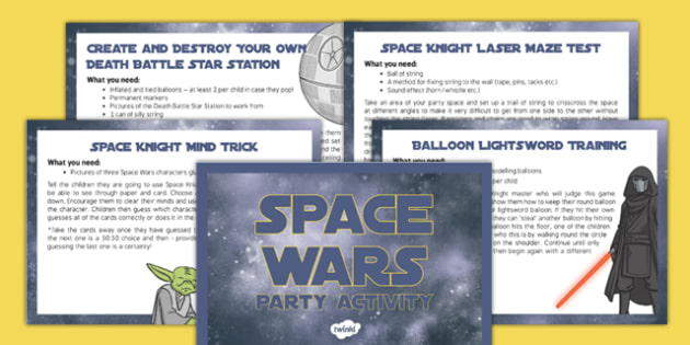 Space Wars Party Games - Party games, star wars games, jedi, darth vader, space wars