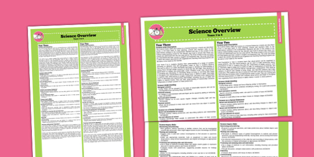 Australian Curriculum Year 3-4 Overview Science - australia