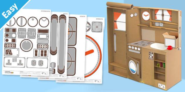 Enkl Kitchen Playset Decals Printable - Enkl, arts, crafts, activity, adult, home, decor, designer, designer, decoration, interior, project, printable, cute, simple, paper, models, 3D, shape, colour, kitchen playset, kitchen, playset, decals