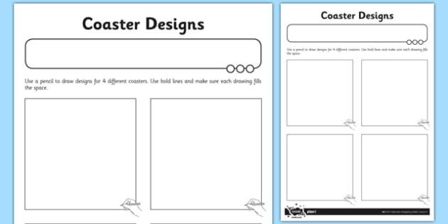 Coaster Designs Activity Sheet - coaster, designs, activity, sheet, worksheet