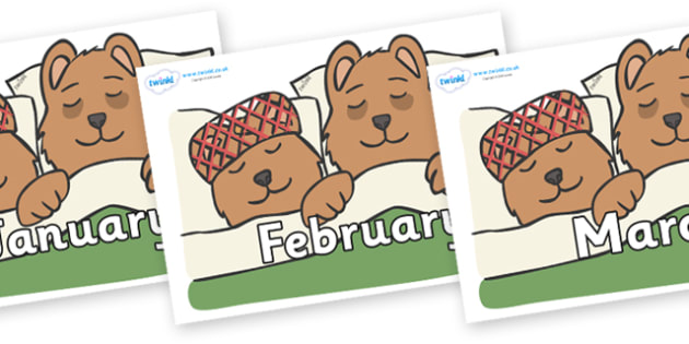 Months of the Year on Mummy & Daddy Bear - Months of the Year, Months poster, Months display, display, poster, frieze, Months, month, January, February, March, April, May, June, July, August, September