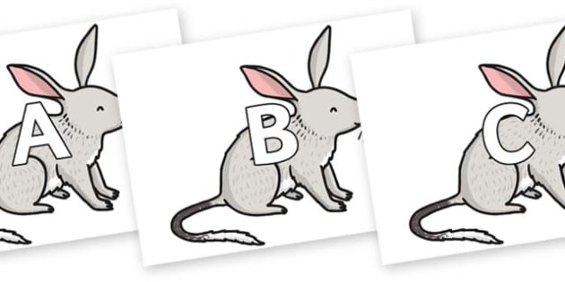 A-Z Alphabet on Bilby - A-Z, A4, display, Alphabet frieze, Display letters, Letter posters, A-Z letters, Alphabet flashcards