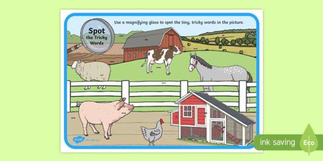Phase 4 Tricky Words Farm Scene Magnifying Glass Activity Sheet, worksheet