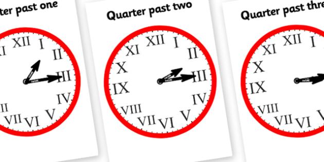 Roman Numerals Clocks Quarter Past-roman numerals, clocks, quarter past, roman numeral clocks, quarter past clocks, time, numbers, maths