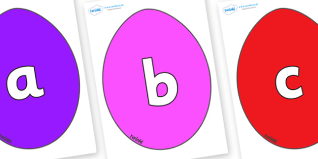 Phoneme Set on Easter Eggs (Plain) - Phoneme set, phonemes, phoneme, Letters and Sounds, DfES, display, Phase 1, Phase 2, Phase 3, Phase 5, Foundation, Literacy