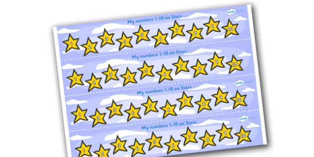 1-10 on Stars Number Strips - Maths, Math, number track, star, Numberline, Number line, Counting on, Counting back, counting, space