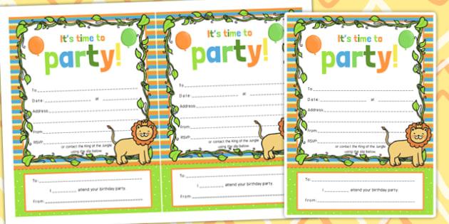 Jungle Themed Birthday Party Invitations - jungle, party, invite