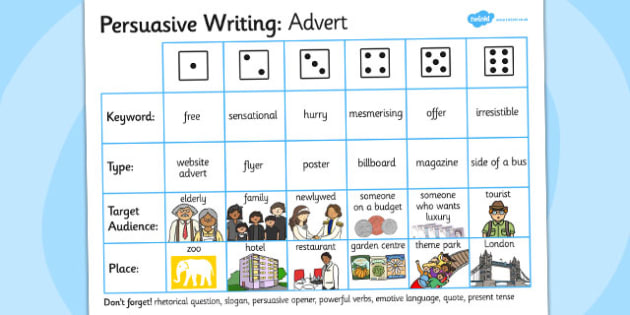 Persuasive Writing Advert Dice Activity - writing aid, persuade