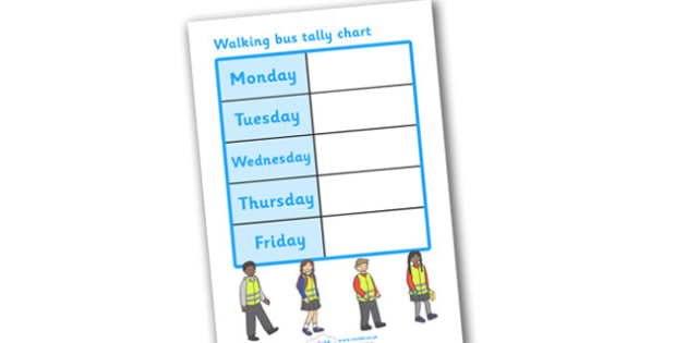 Walking Bus Tally Chart - tally chart, chart, walking bus, safety, safe walking, children, list, school safety