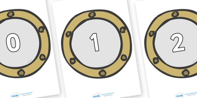 Numbers 0-50 on Portholes - 0-50, foundation stage numeracy, Number recognition, Number flashcards, counting, number frieze, Display numbers, number posters