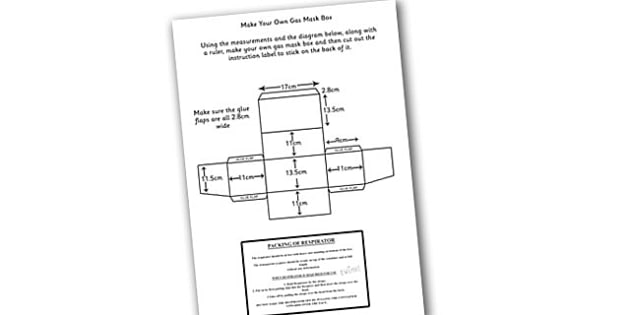 Word War Two Make Your Own Gas Mask Box Instructions and Label - world war 2, world war two, ww2, world war 2 gas mask box, how to make a gas mask box