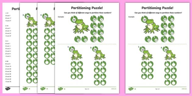 Partitioning Puzzle Activity Sheet, worksheet