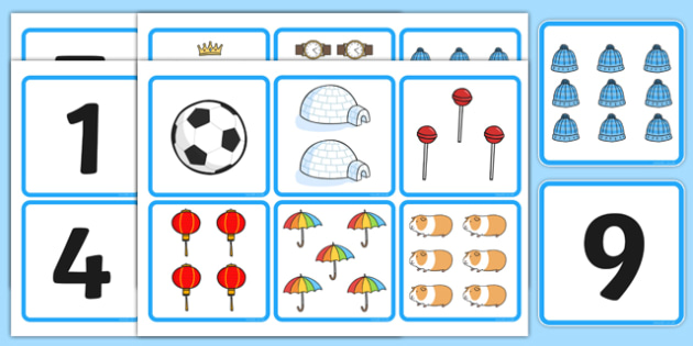 1-10 Number and Quantity Matching Cards - number matching cards, number and image matching cards, number and quantity matching cards, 1-10 matching cards