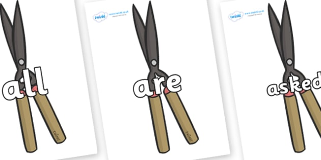 Tricky Words on Shears - Tricky words, DfES Letters and Sounds, Letters and sounds, display, words