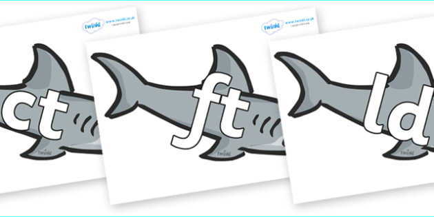 Final Letter Blends on Sharks - Final Letters, final letter, letter blend, letter blends, consonant, consonants, digraph, trigraph, literacy, alphabet, letters, foundation stage literacy