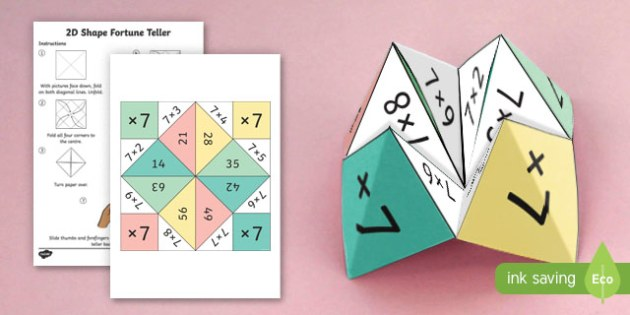 7 Times Table Fortune Teller - 7 times table, times table, fortune teller, activity, craft, fold, times tables
