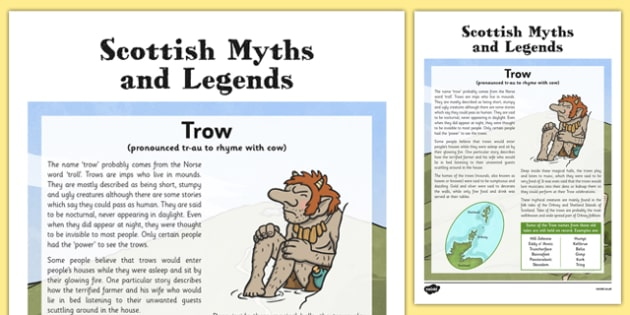 Trow Information Card - CfE, Social Studies, History, Myths and Legends, Scottish Myths and Legends, Trows