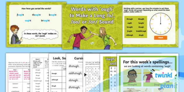 PlanIt Y4 Term 1B W5: 'ough' Words Spelling Pack - Spelling Packs Y4, Year 4, Y4, spelling, statutory, SPaG, GPS, weekly, lists, tests, ough, letter pa