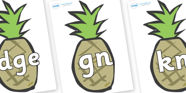 Silent Letters on Pineapples - Silent Letters, silent letter, letter blend, consonant, consonants, digraph, trigraph, A-Z letters, literacy, alphabet, letters, alternative sounds