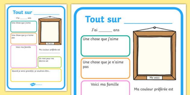 Tout sur All About Me Poster French - french, all about me, me poster, poster about me, ourselves poster, poster about ourselves, design a poster, poster template, poster activity