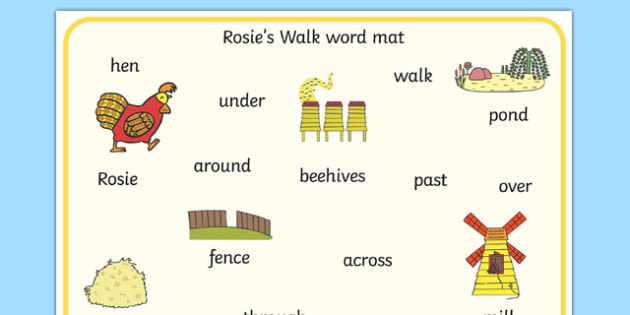 Word Mat to Support Teaching on Rosie's Walk - Rosie's Walk, story, Pat Hutchins, book, resources, writing aid, mats, Rosie, fox, farm, story book, story resources, Rosie Walk