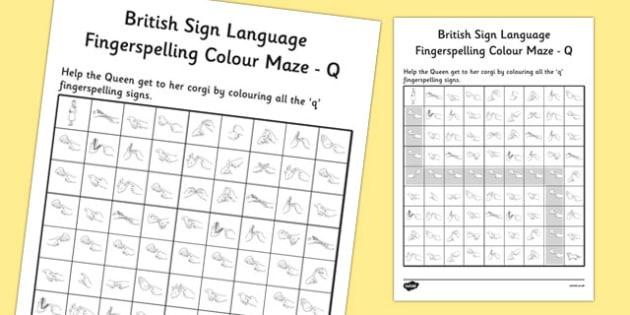 British Sign Language Left Handed Fingerspelling Colour Maze Q