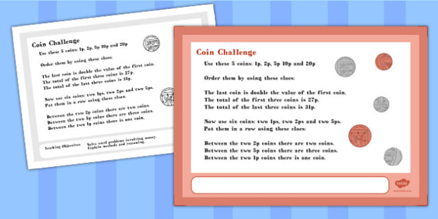 A4 Coin Maths Challenge Poster - challenge poster, poster, a4