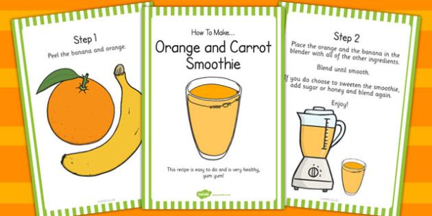 Orange and Carrot Smoothie Recipe Cards - recipe, cards, smoothie