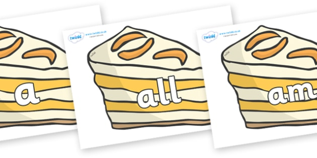 Foundation Stage 2 Keywords on Peach Dessert to Support Teaching on The Lighthouse Keeper's Lunch - FS2, CLL, keywords, Communication language and literacy,  Display, Key words, high frequency words, foundation stage literacy, DfES Letters and Sounds