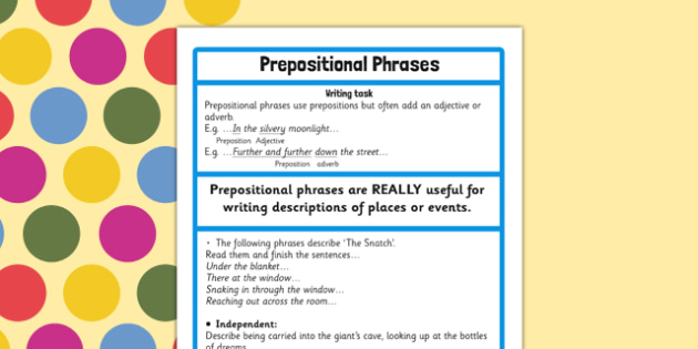 Prepositional Phrase Challenge Activity to Support Teaching on The BFG - bfg, preposition