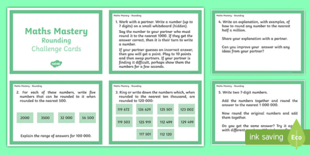 Year 6 Maths Mastery Rounding Challenge Cards - rounding, challenge, maths, higher ability